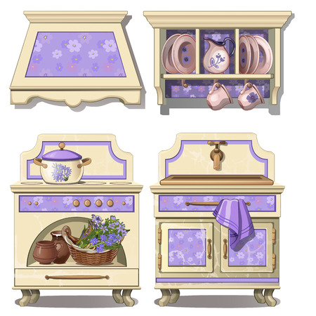 countertop: Furniture for kitchen in retro style, purple color. Set of four items on white background. Vector illustration