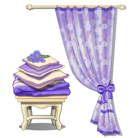 cushions: Curtain and chair with cushions, piece of furniture in purple color. Set of two items on white background. Vector illustration Stock Photo