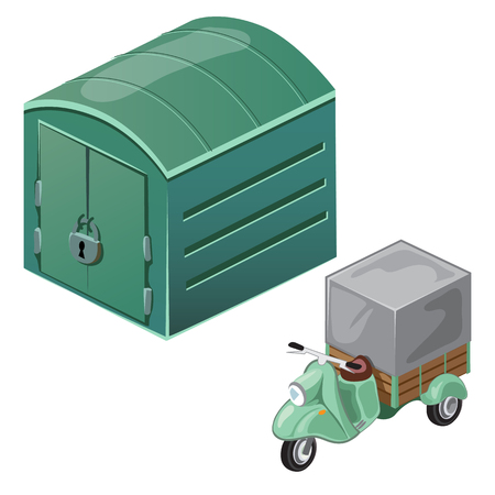 maneuverable: Green scooter with tent and closed garage. Vector transport isolated. Cartoon illustration on white background