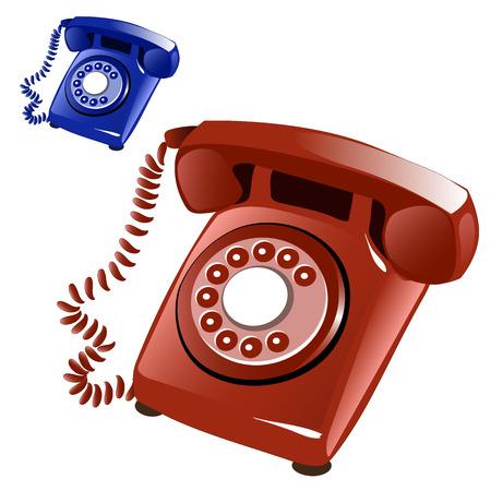 cable telefono: Brown y azul teléfono de la vendimia con el marrón de disco. Ilustración del vector en un fondo blanco