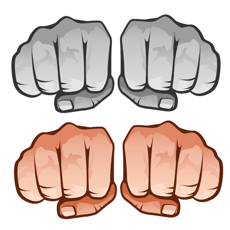 Human fist front, four icons on white background. Vector illustration isolated Illustration