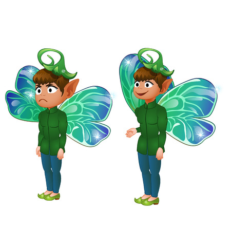 fictional character: Smiling and sad boy leprechaun in green suit. Vector fictional character on white background for animation, comics, and other design needs