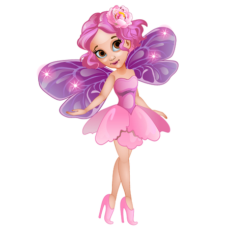 Fairy with wings in pink dress with flower on head. Vector fictional girl character on white background