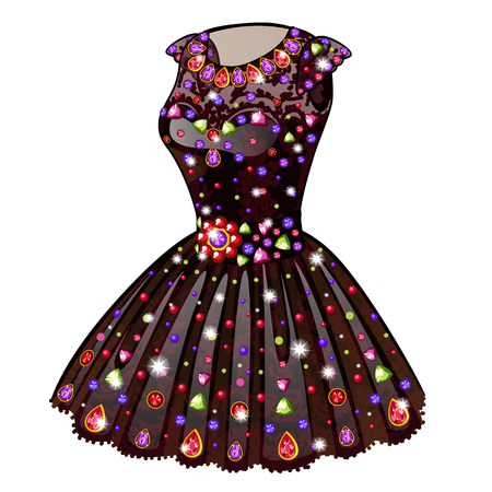 princess dress: Evening Princess dress inlaid with precious stones. Vector clothes on a white background. Illustration isolated Illustration