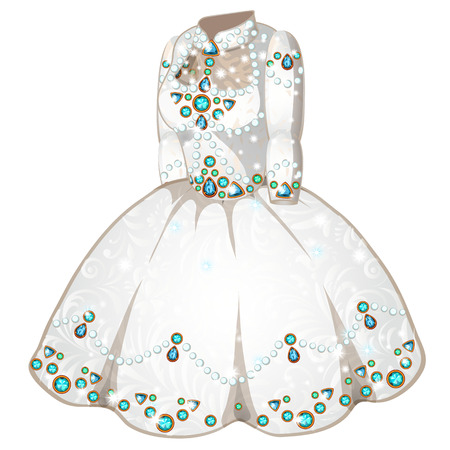 incrustation: White wedding or ceremonial dress of princess inlaid with precious stones. Vector clothes on a white background. Illustration isolated