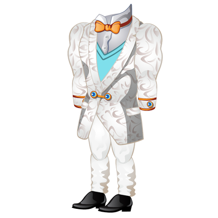 ceremonial: White wedding or ceremonial man suit. Vector clothes on a white background. Illustration isolated