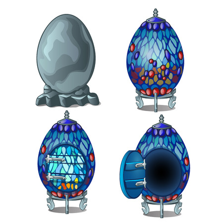 luxery: Create fairy house from stone egg, four stage. Vector icons on white background