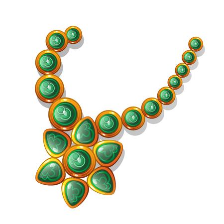 green gemstones: Gold vintage necklace with green gemstones. Vector illustration on white background