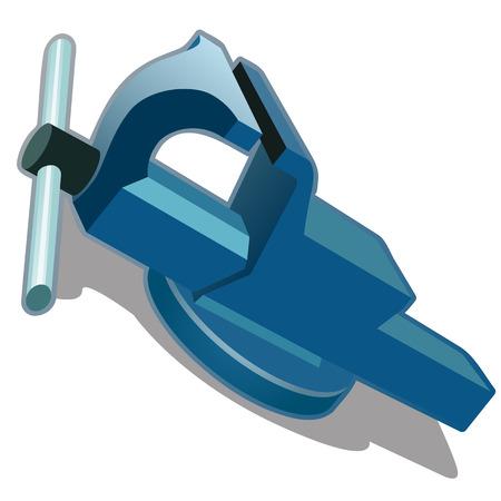 tornillo de banco azul sobre un fondo blanco. Ilustración del vector aislado