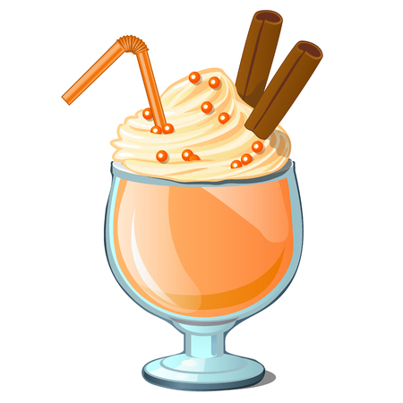 Coffee cocktail with cream and cinnamon. Vector icon drink on a white background Illustration