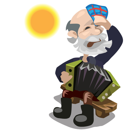 Elderly man plays the accordion on sunny day. Vector character on a white background