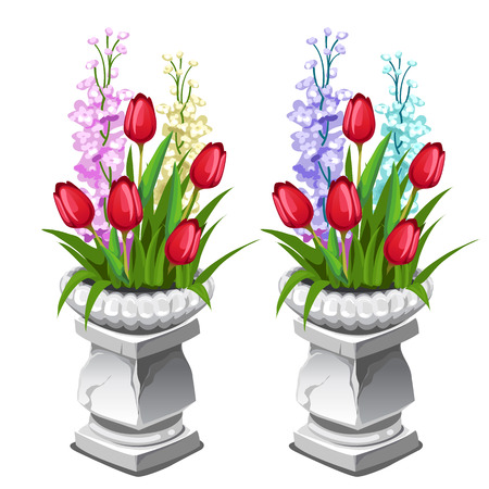 Red tulips and other flowers in stone vase. Two vector icon on a white background