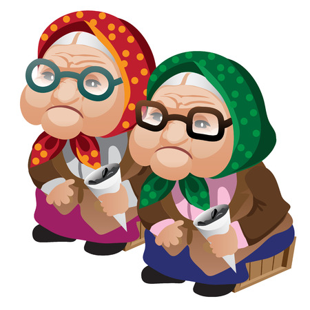 Two old women in glasses sitting on bench with seeds. Vector character in color and black-and-white Illustration