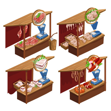 Four kiosk selling meat products. Isometric vector illustration on a white background