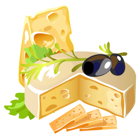 black olive: Delicious cheese with black olive and herbs, image on white background, vector food isolated