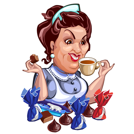 break in: Saleswoman in apron during break, drinking tea with chocolate sweets. Vector character on a white background