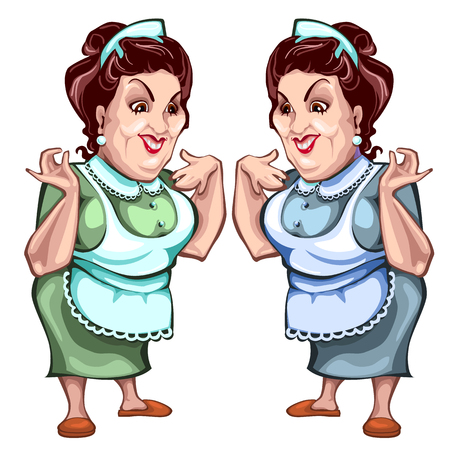 pinafore: Adult woman in apron, seller of product. Vector character on a white background Stock Photo