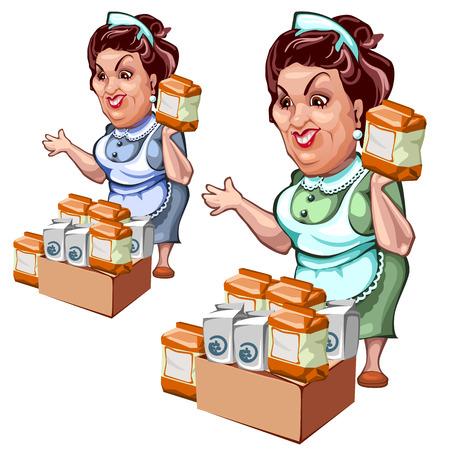 Vendedora de productos, la sal y el azúcar, carácter del vector en un fondo blanco