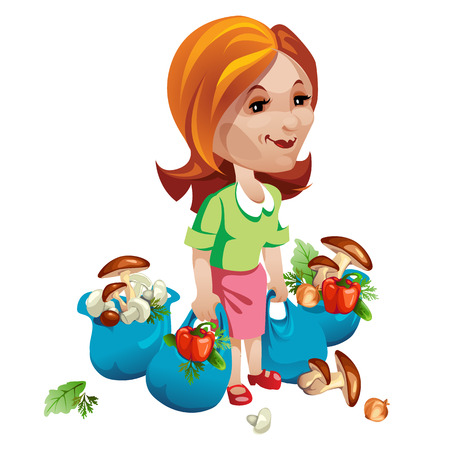 shopper: Woman buyer with vegetables and mushrooms. Vector character on a white background Illustration