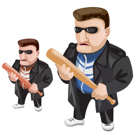 Thug in sunglasses and with bat in his hands. Vector character on a white background