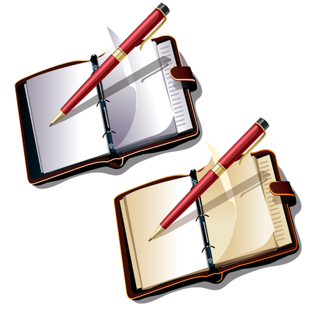 Notebook with ball pen on white background. Vector illustration isolated
