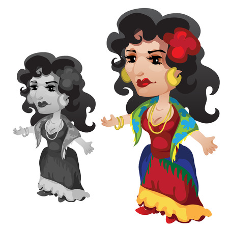 gypsy woman: Gypsy brunette woman in bright clothes and accessories. Vector character on a white background Illustration