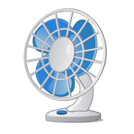 Desktop small fan with blue blades on a white background. Vector illustration