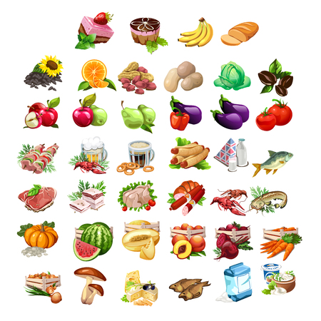 apples and oranges: Big vector set of 40 icons - fruits, vegetables, meat, fish and dairy products