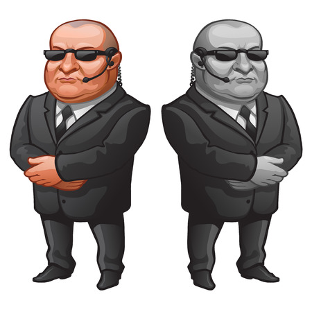 bodyguard: Muscular man in glasses and suit, strong bodyguard. Vector character on a white background