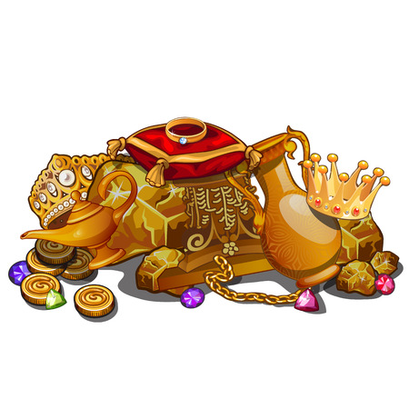 Royal gold treasure, crown and other precious relics. Vector composition on white background