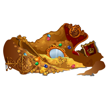 Royal treasures and jewels buried in sand. Vector composition on white background Illustration