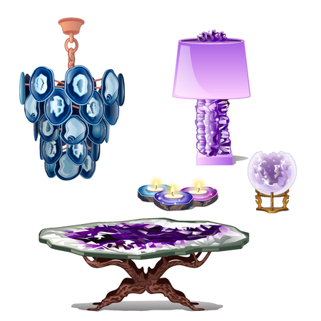 Luxury furniture interior decor of amethyst. Vector composition on white background, five items