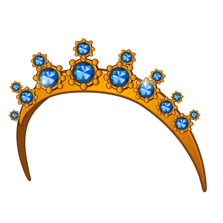Golden crown with sapphires, womens accessory on head. Vector illustration on white background