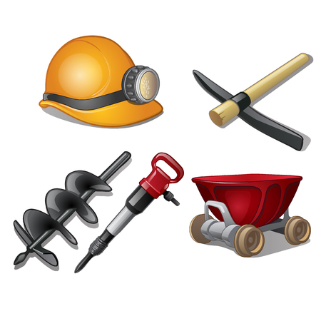 auger: Set of five tools of miner on a white background. Vector illustration isolated.