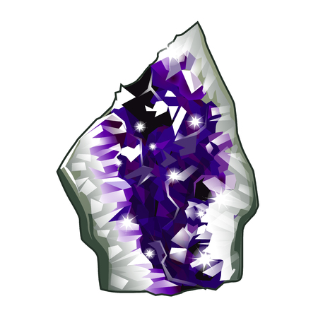 amethyst: Piece of raw crystal amethyst. Vector isolated on white background. Jewelry concept