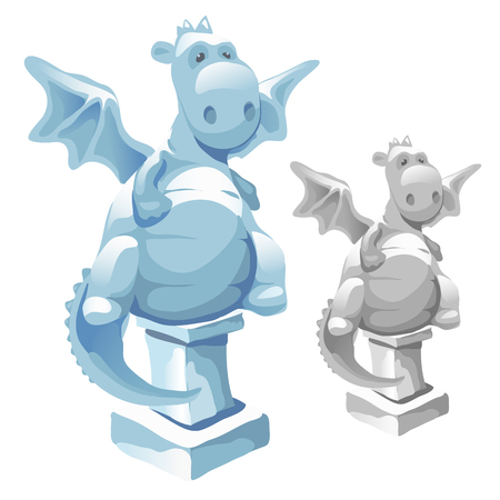 potbellied: Ice statue of cute fat dragon in cartoon style. Vector mythical character. Image on a white background