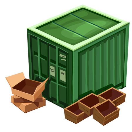 white goods: Large green container for goods and box. Vector isolated. Cartoon illustration on white background