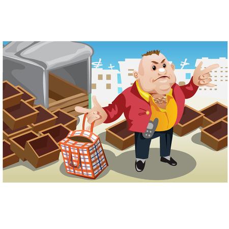 carretilla de mano: Hombre de negocios toma la bolsa con productos de almacén. Vector escena creativa. Personajes de caricatura Vectores