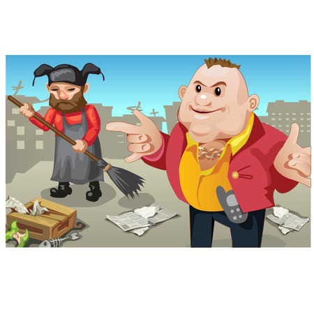janitor: Social inequality, rich man and janitor outdoor. Vector creative scene. Two characters Illustration