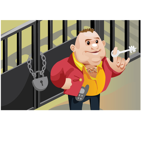 Creative scene, cool businessman locks the door of his warehouse. Vector character Illustration