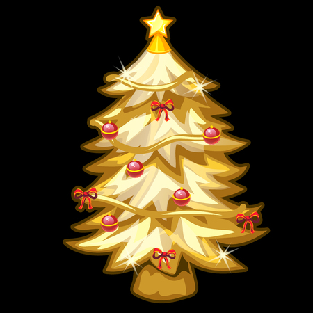 hoarfrost: Golden Christmas tree with toys on black background. Festive symbol Illustration
