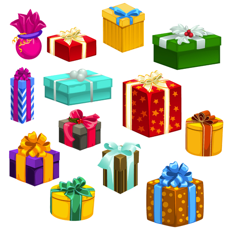 Big set of gift boxes different colors and shapes, 13 icons on white background for your design needs