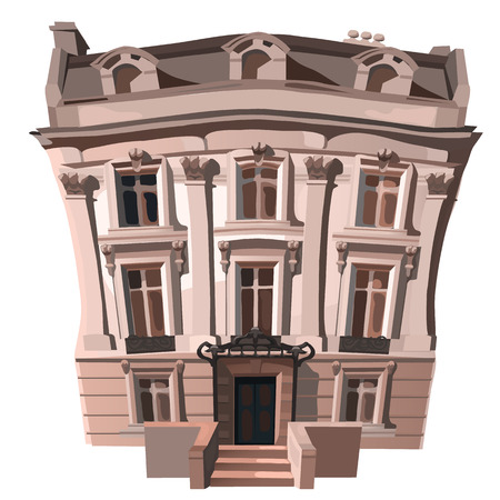 upmarket: Three-storey house in European or American style. Vector illustration in cartoon style on white background Stock Photo