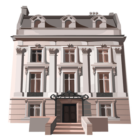 upmarket: Vintage three-storey house in European or American style. Vector illustration on white background Stock Photo
