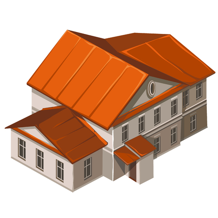 municipal: Classic building of municipal institution. Vector illustration in cartoon style on white background Stock Photo