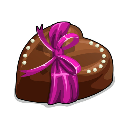 Chocolate heart with pink bow and pearls. Vector holiday dessert on a white background. Icon food Ilustracja