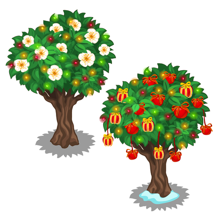 festively: Festively decorated trees with glowing garland. Vector illustration on white background