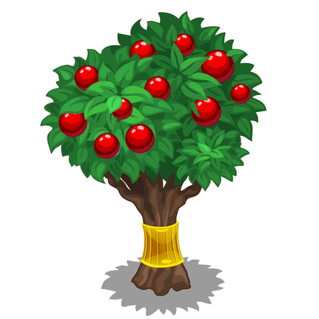 golden apple: Green tree with red fruits and gold holder. Vector illustration on white background