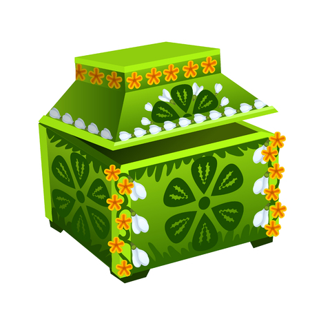 Beautiful green treasure chest with floral ornament. Vector illustration on white background
