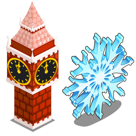 Part of tower of Kremlin in Moscow and snowflake on a white background Illustration